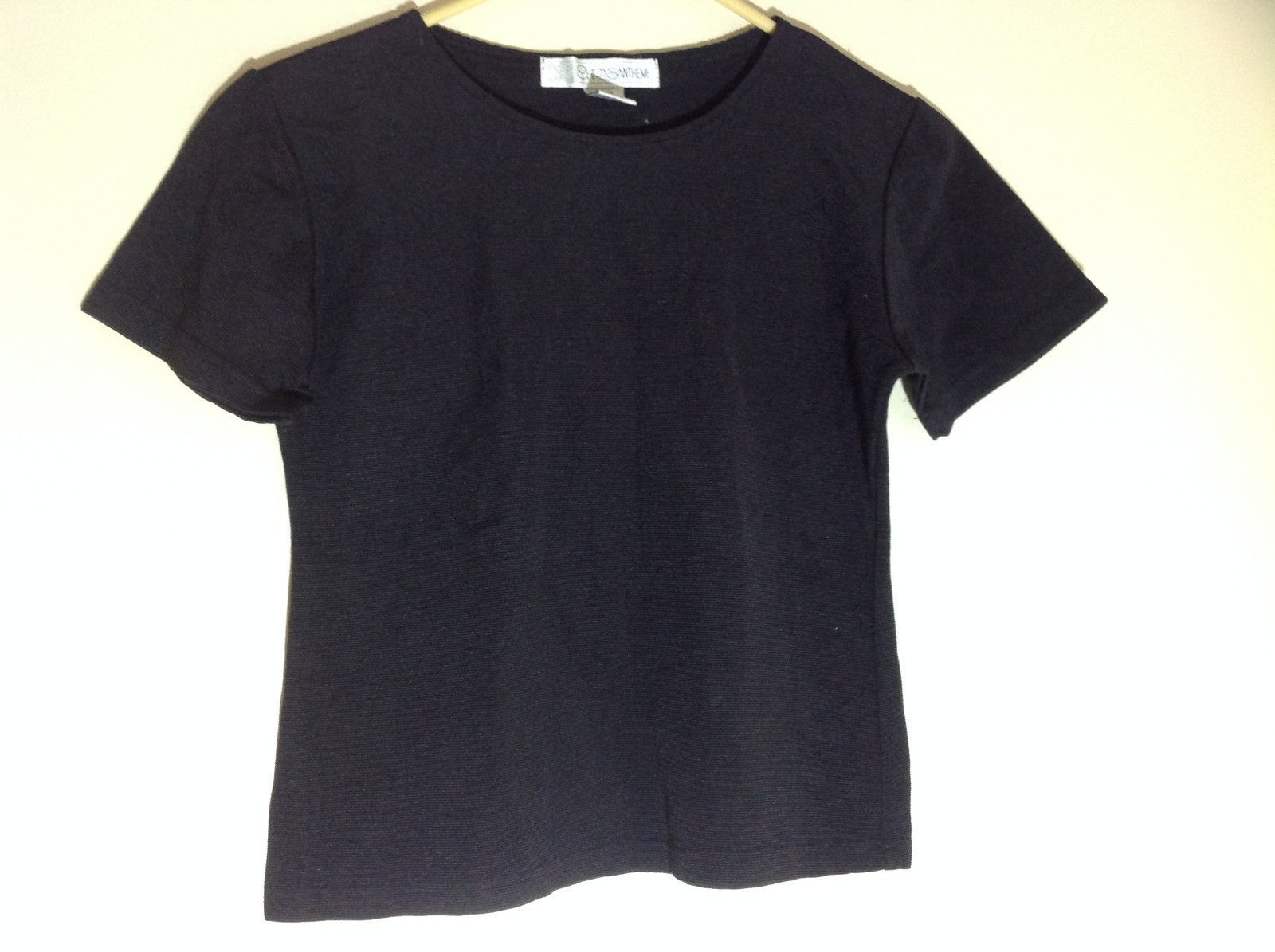 Chrysantheme Black Crew Neck Short Sleeve Shirt Stretchy Material Size Small