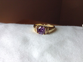 Circular Purple CZ with White CZ Accents Gold Plated Ring Size 10