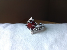 Circular Red CZ Stone with Wave Stone Design Stainless Steel Ring Size 7.5