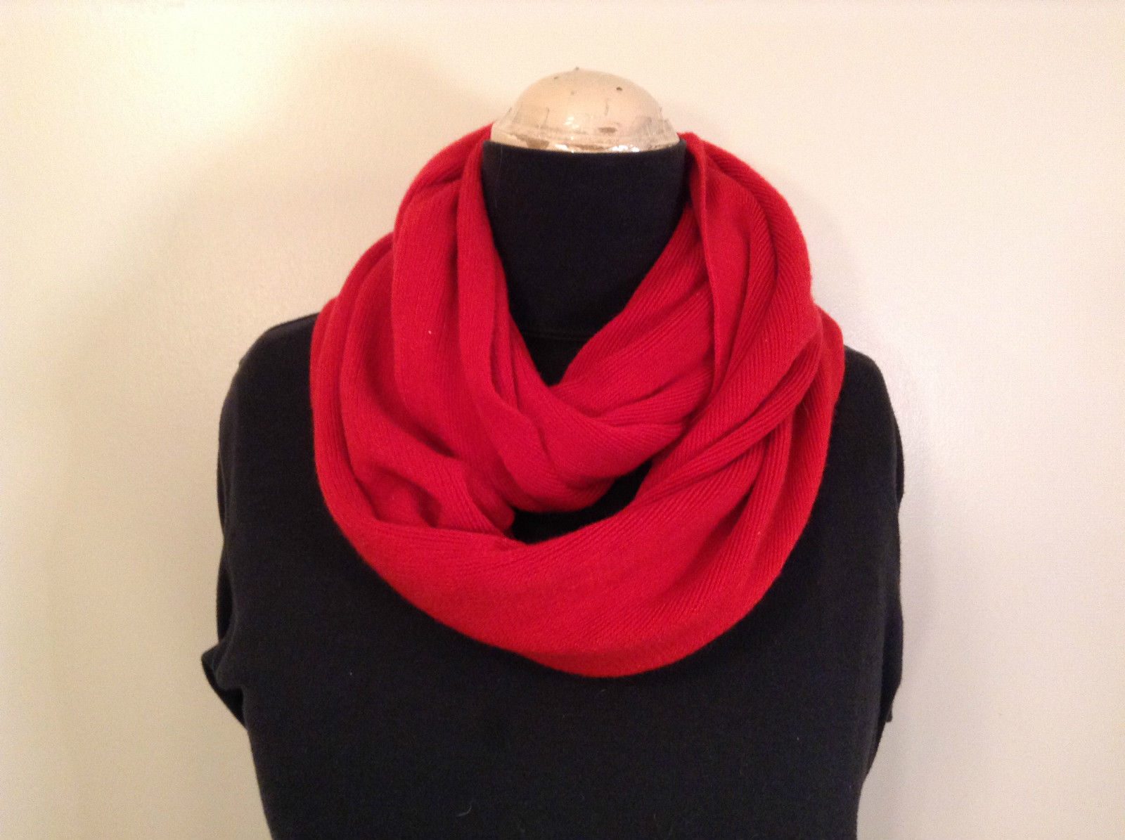 Circle Red Knitted Infinity Scarf RIKA 100 Percent Acrylic NEW