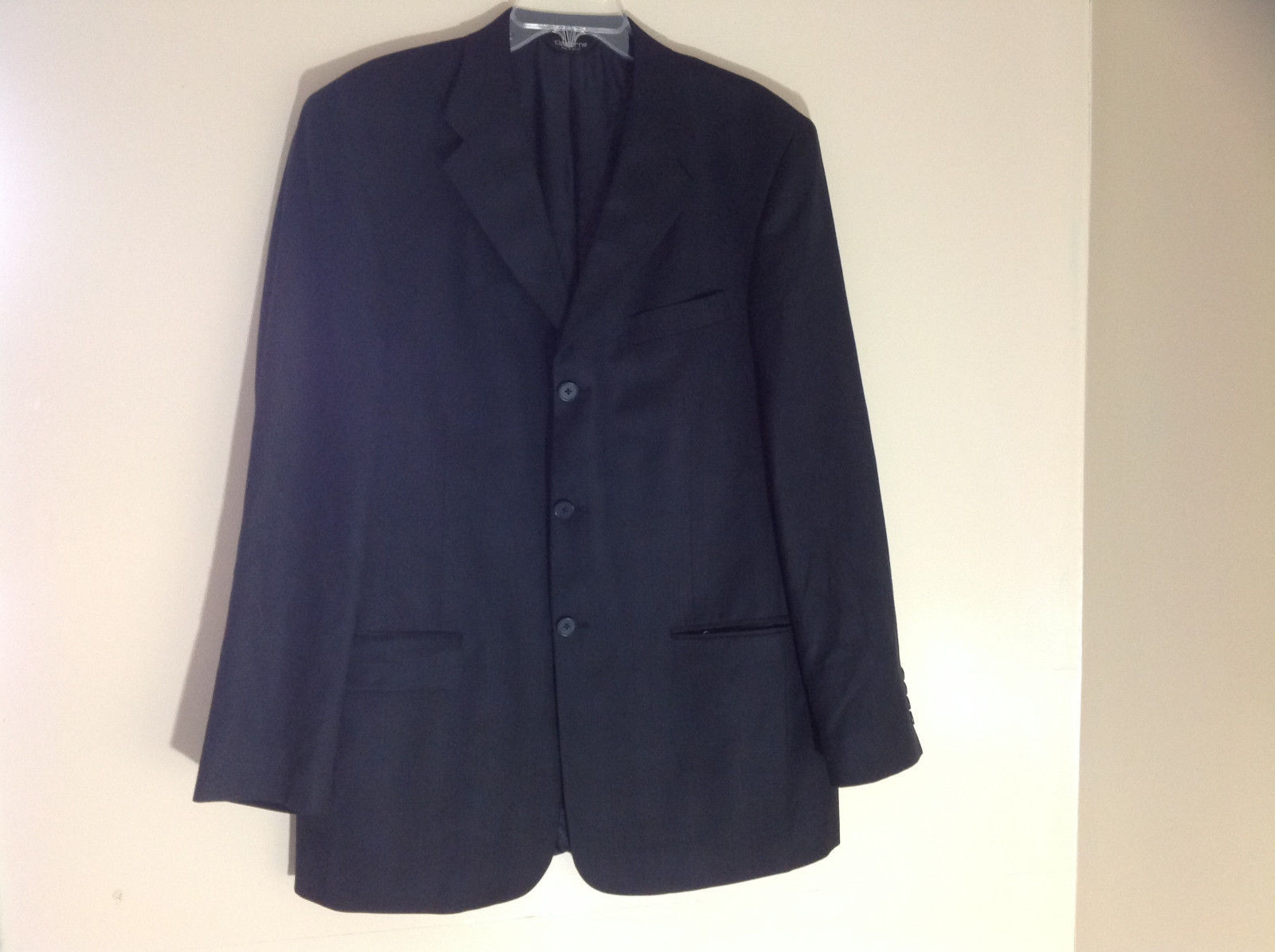 Claiborne Black Button Up Suit Jacket 3 Pockets on Front Size 42 Large