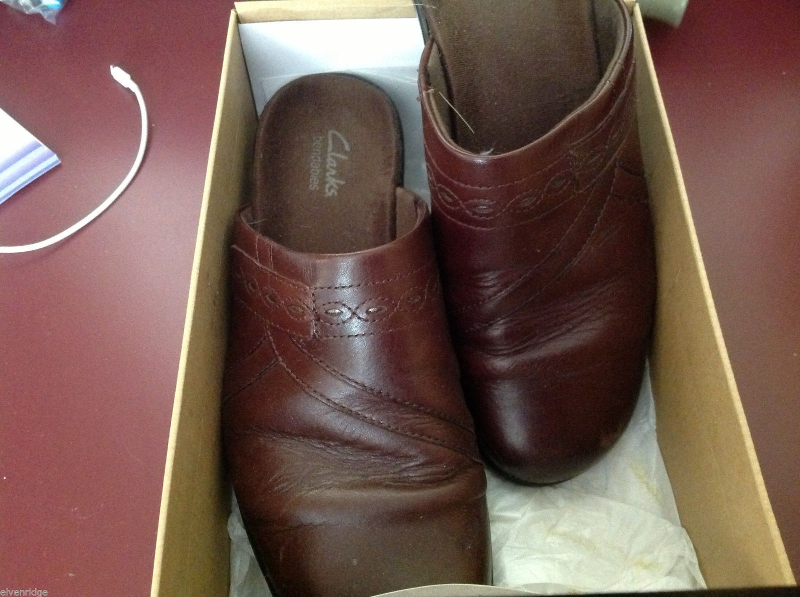 Clarks shoes brown ginger size 9M used mules