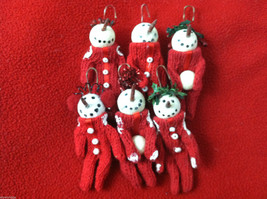 Box of 6 Cute Little Snowmen in Red Knit Sweaters - Christmas Ornaments image 2