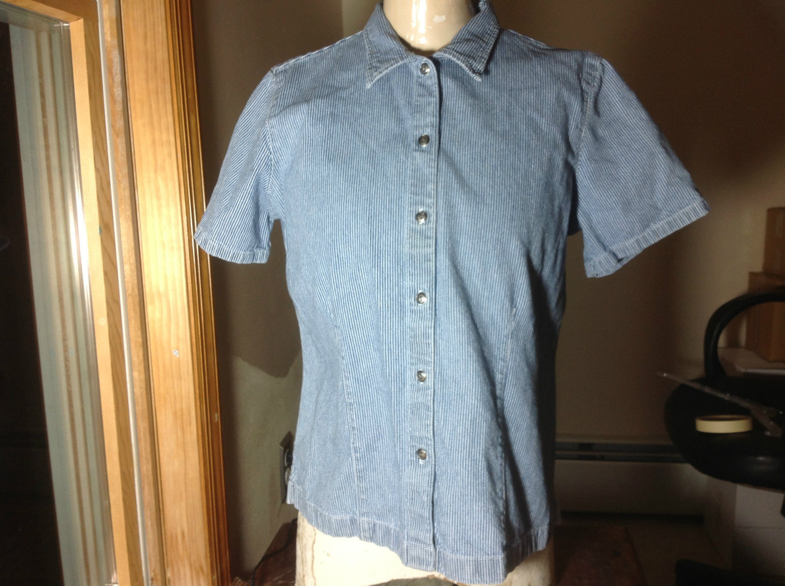 Classic Elements Blue Skinny White Striped Button Up Short Sleeve Shirt Size M