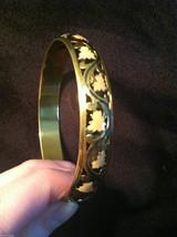 Brass Bracelet with Pink Leaf and Filigree Design image 2