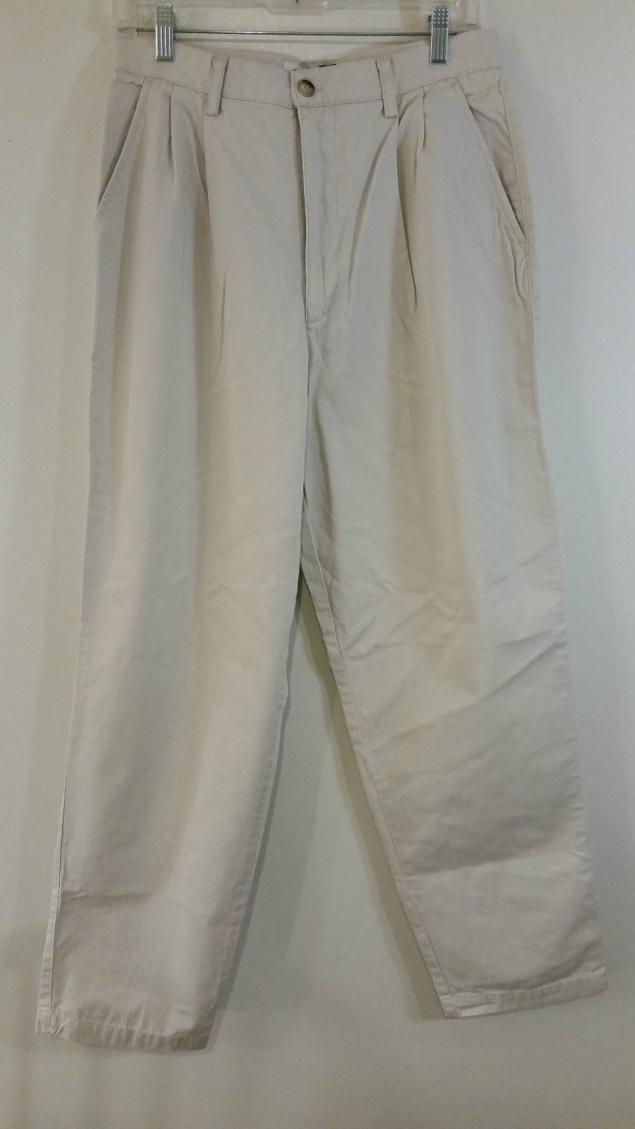 Classic Gap Khaki Colored 100 Percent Cotton Pleated Front Casual Pants Size 12R