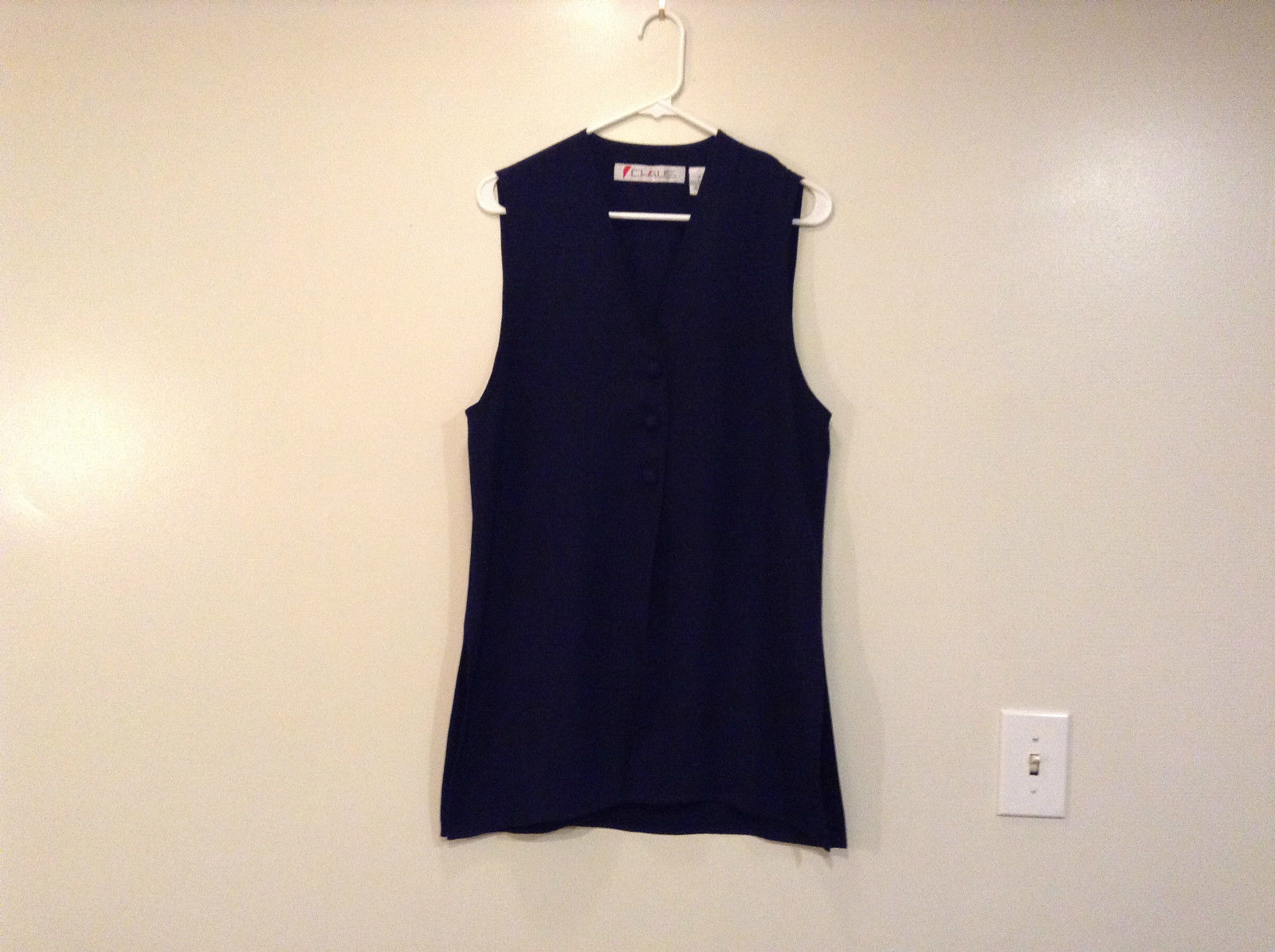Claus Sleeveless Top or Vest Navy Blue 3 Front Buttons V Neck Fully Lined Size S