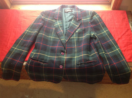 Claus Squared Green Red Yellow Blazer 2 Button Closure 3 Buttoned Cuffs Size 13