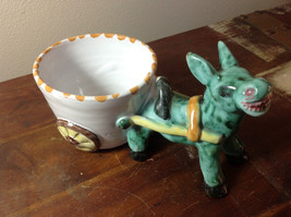 Clay Handmade Hand Painted Glazed Cup Chariot with Horse Figurine Green Flowers