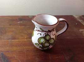 Clay Hand Painted Cream Jug with Handle Brown Green Flowers Made In Italy