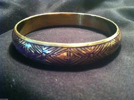 Brass Bracelet with Purple Enamel Cross and Chevron Design image 3