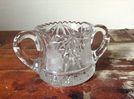 Clear Copper Wheel Glass Two  Handled sugar bowl w flower Pattern Crystal