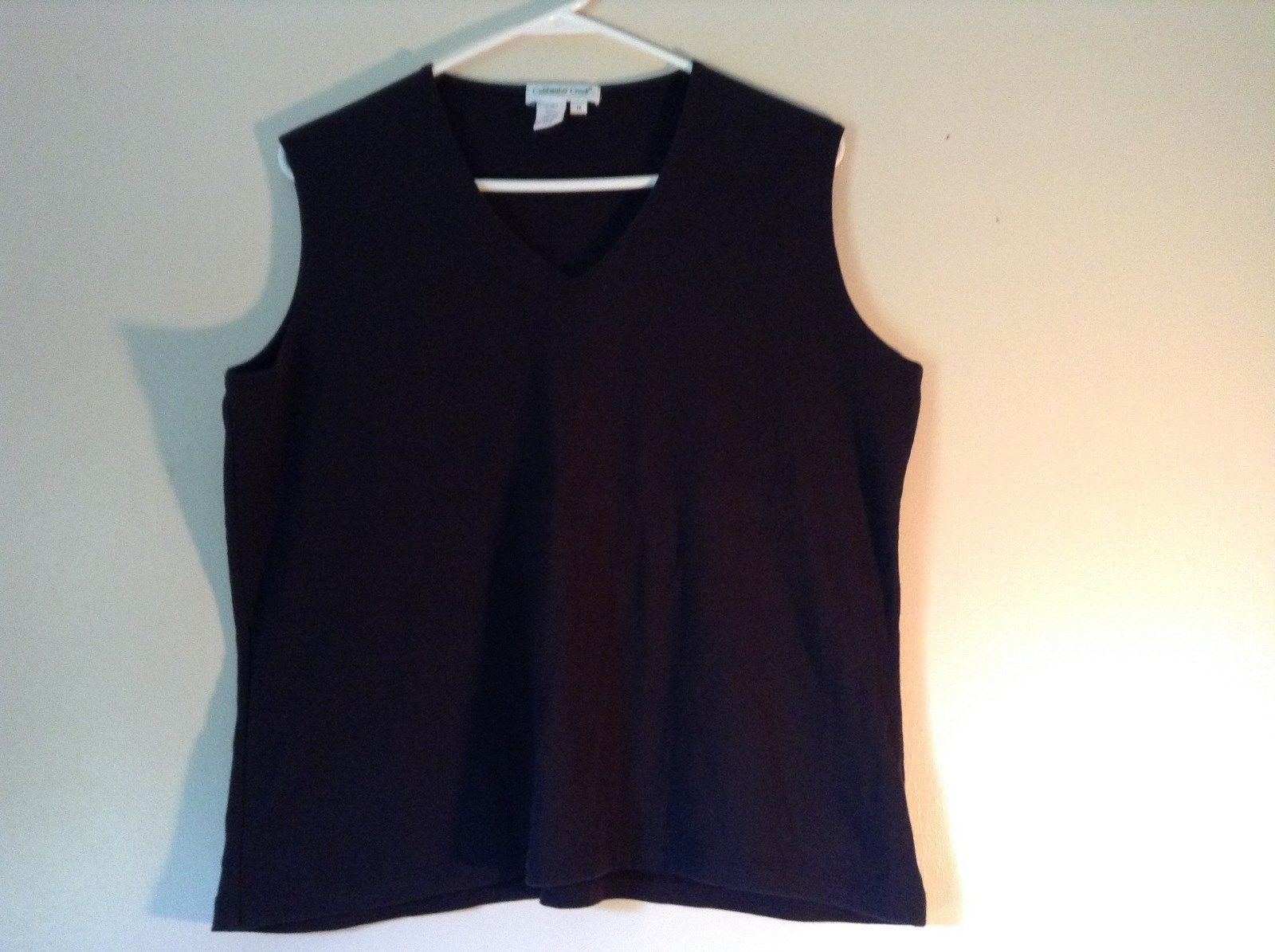 Coldwater Creek Black V Neck Sleeveless Shirt 100 Percent Cotton Size 1X