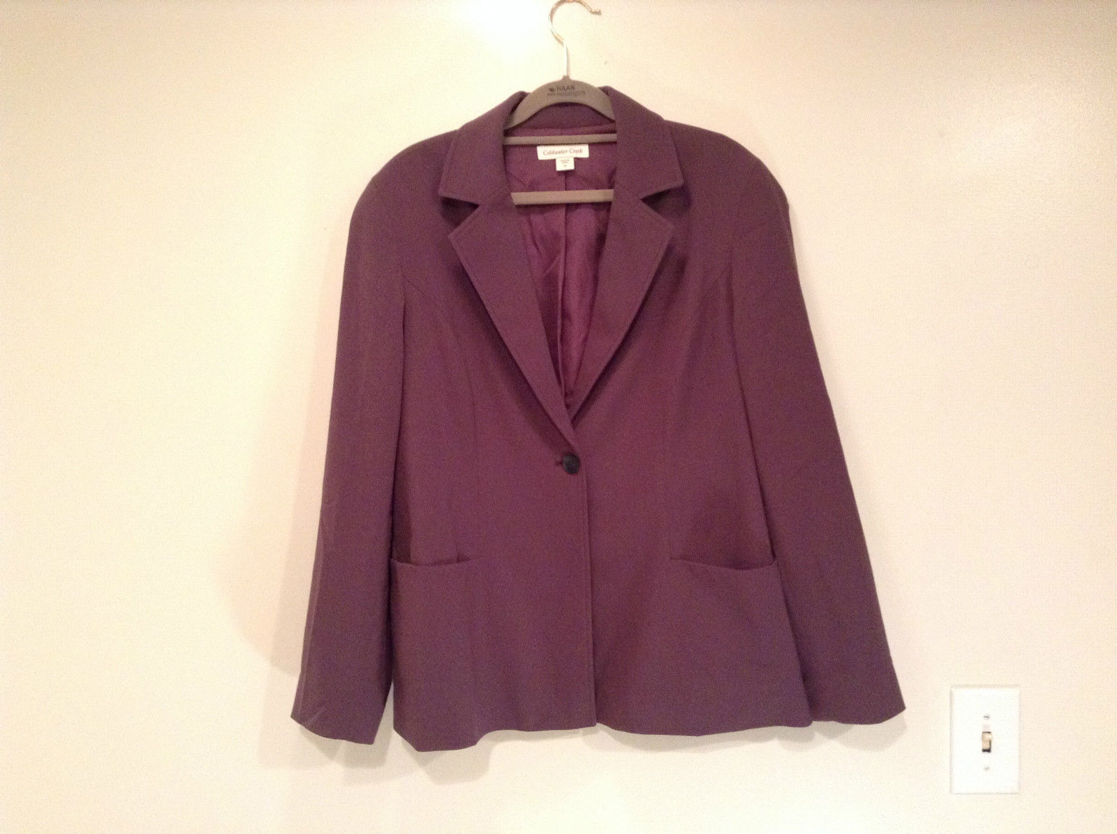 Coldwater Creek One Button Closure Violet Lined Blazer Size 14 Two Pockets