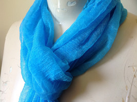 Bright Blue Sheer Shiny Material Fashion Scarf Light Weight Material NO TAGS image 4
