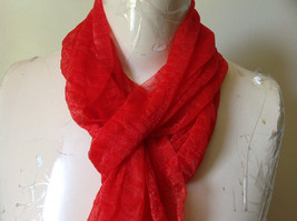 Bright Red Sheer Shiny Material Fashion Scarf Light Weight Material NO TAGS image 3
