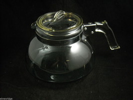 Clear glass Tea coffee pot with removable handle unique design mid 1900s