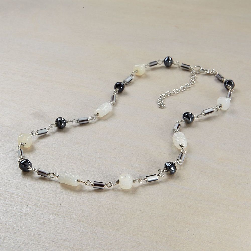 Clear White Stone Necklace with  Hematite Chain