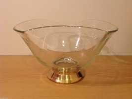 Clear Glass Dish Vase with Gold Tone Metal Stand Bottom