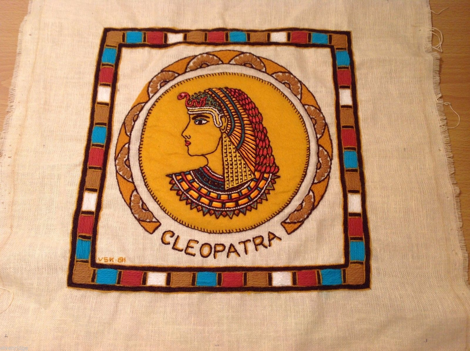 Cleopatra Vintage Hand Embroidered Face Side Pillow Cover Linen