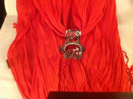 Bright orange red silk cotton blend luxury scarf w dragonfly cyrstals  pendant image 2