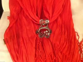 Bright orange red silk cotton blend luxury scarf w dragonfly cyrstals  pendant image 8