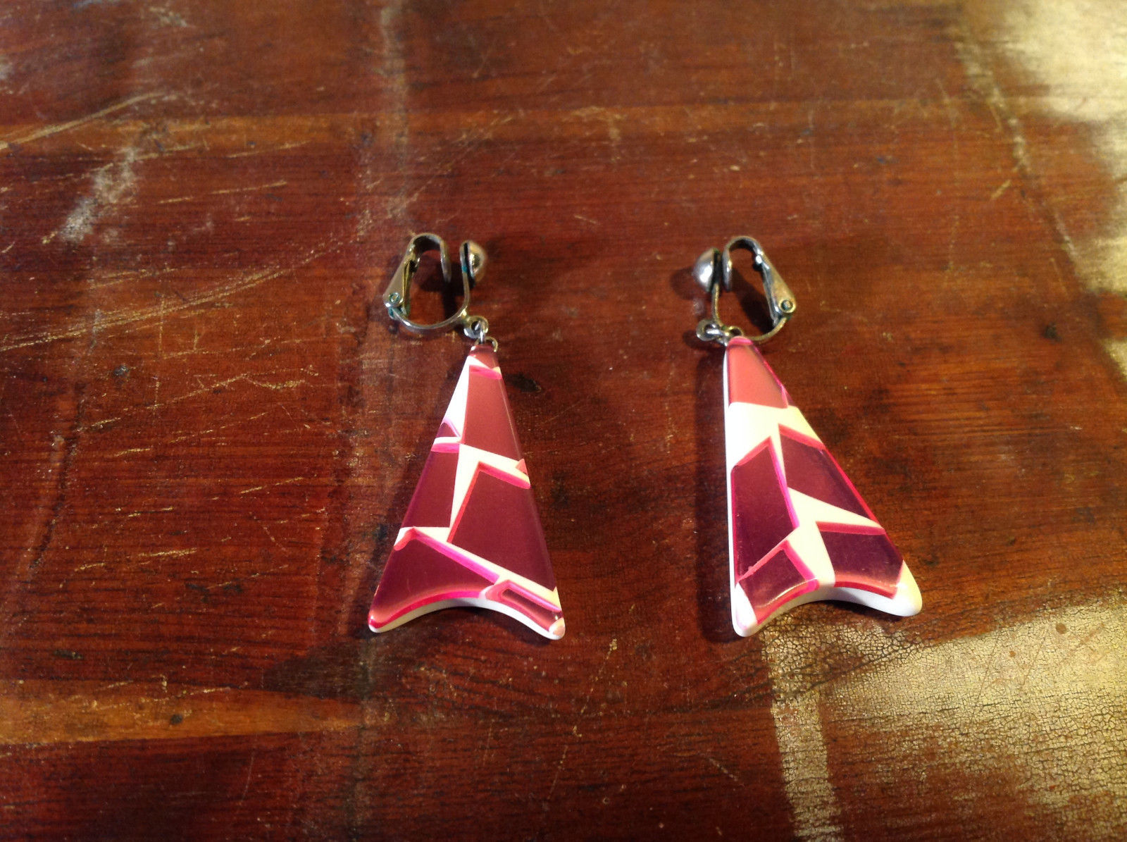 Clip On Earrings White with Pink Elements Wedge Shape