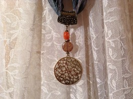 Circular Gold Tone Scarf Pendant with Flowery Design Looks like Polished Stone