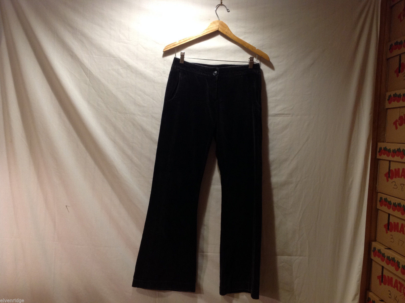 Clothes by H&M Black Wide Legged Velvety 100% Cotton Pants, Size 4