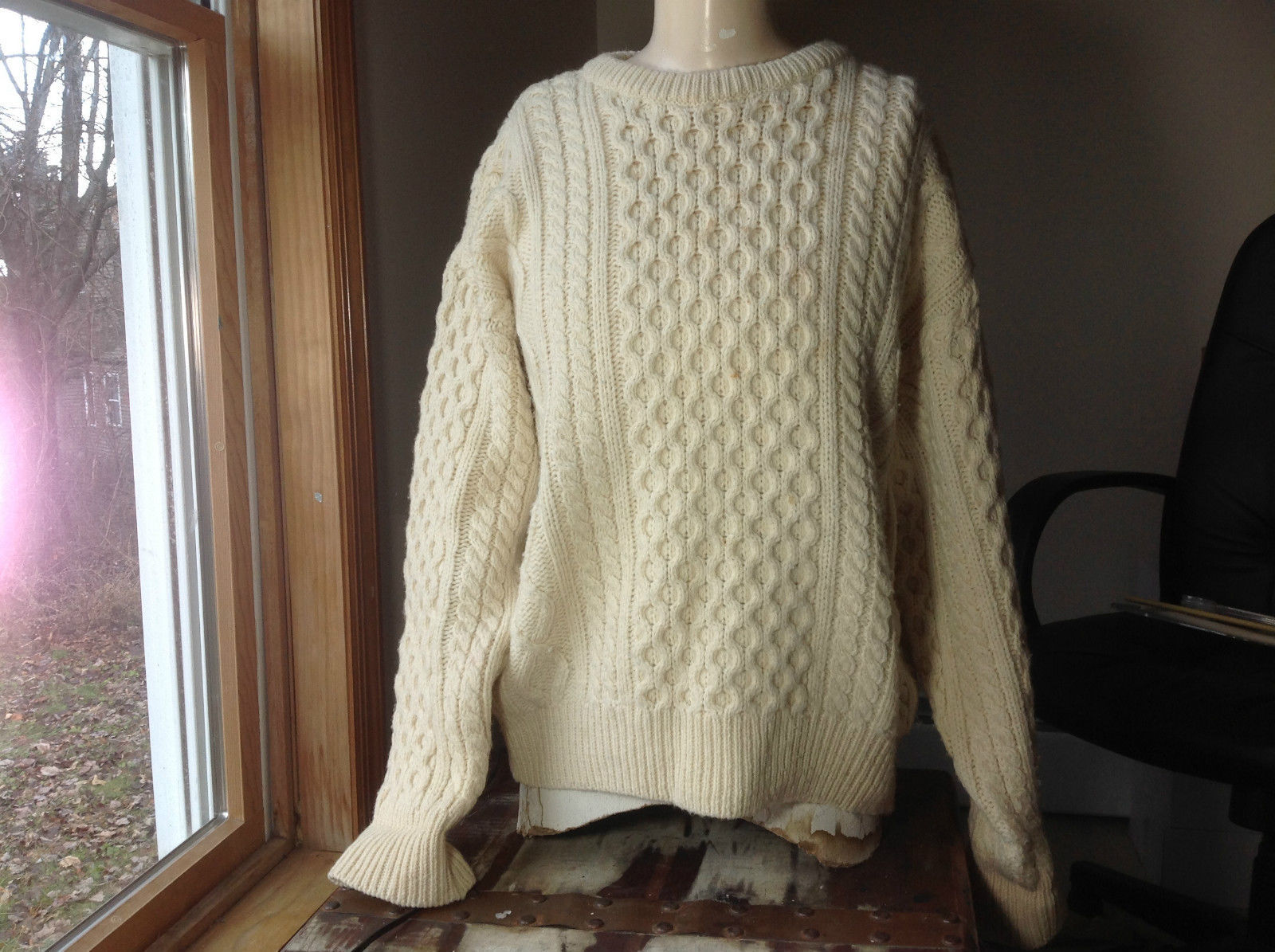 Club Room Cream Cable Knit Long Sleeve Sweater Size Large Wool Ireland