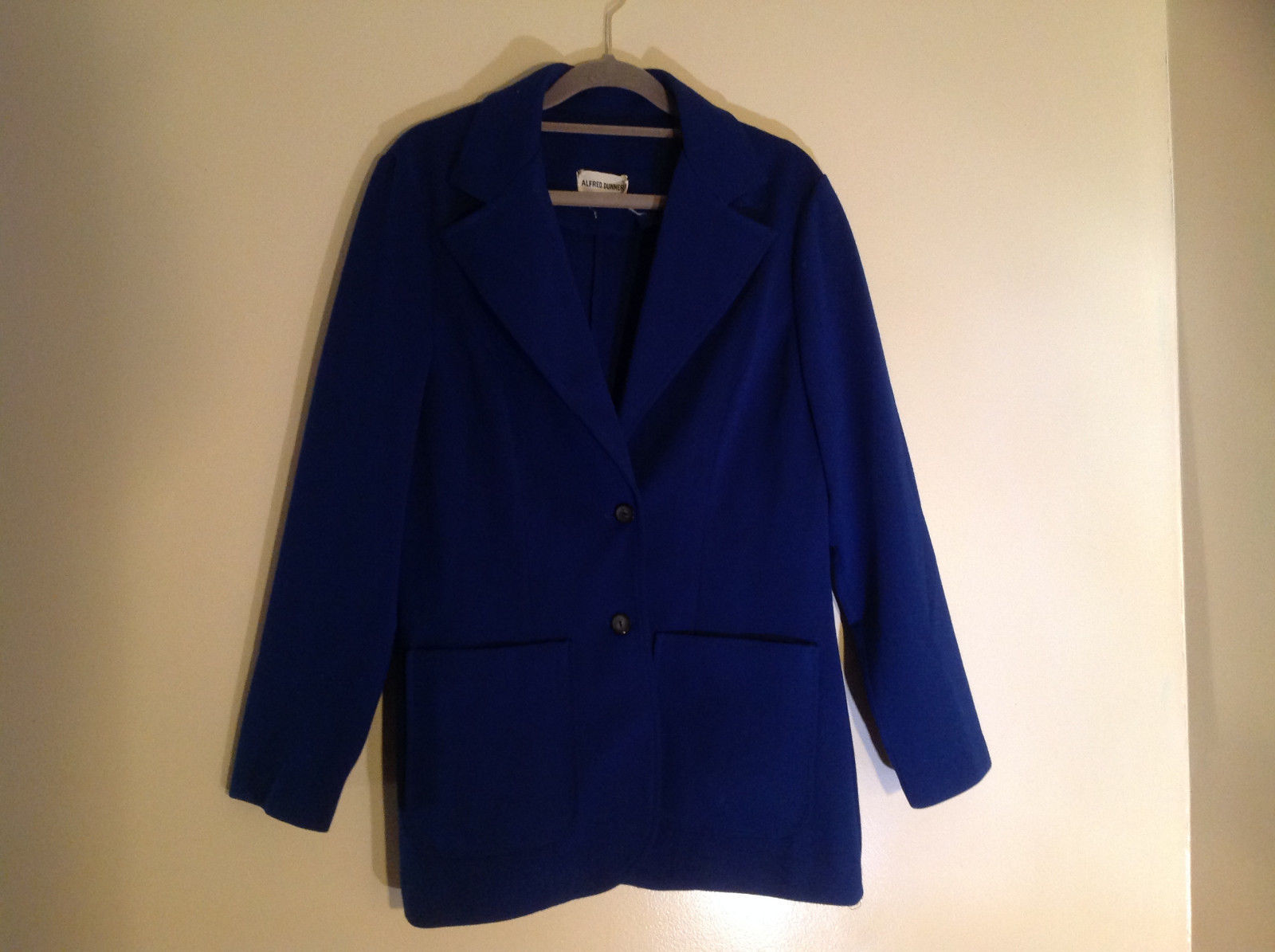 Cobalt Blue Double Button Blazer 2 Front Pockets Alfred Dunner Size 18