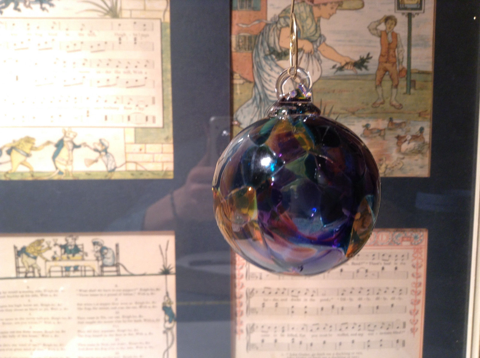 Cobalt Blue Yellow Heirloom Glass Hand Blown Ornament Made in USA Studio Glass