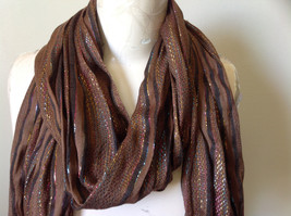 Brown Black Striped Rainbow Metallic Stripes Tasseled Fashion Scarf No Tag image 3