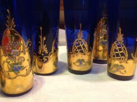 Cobalt blue glass hand painted flower gold Czech beverage serving set - $3,500.00