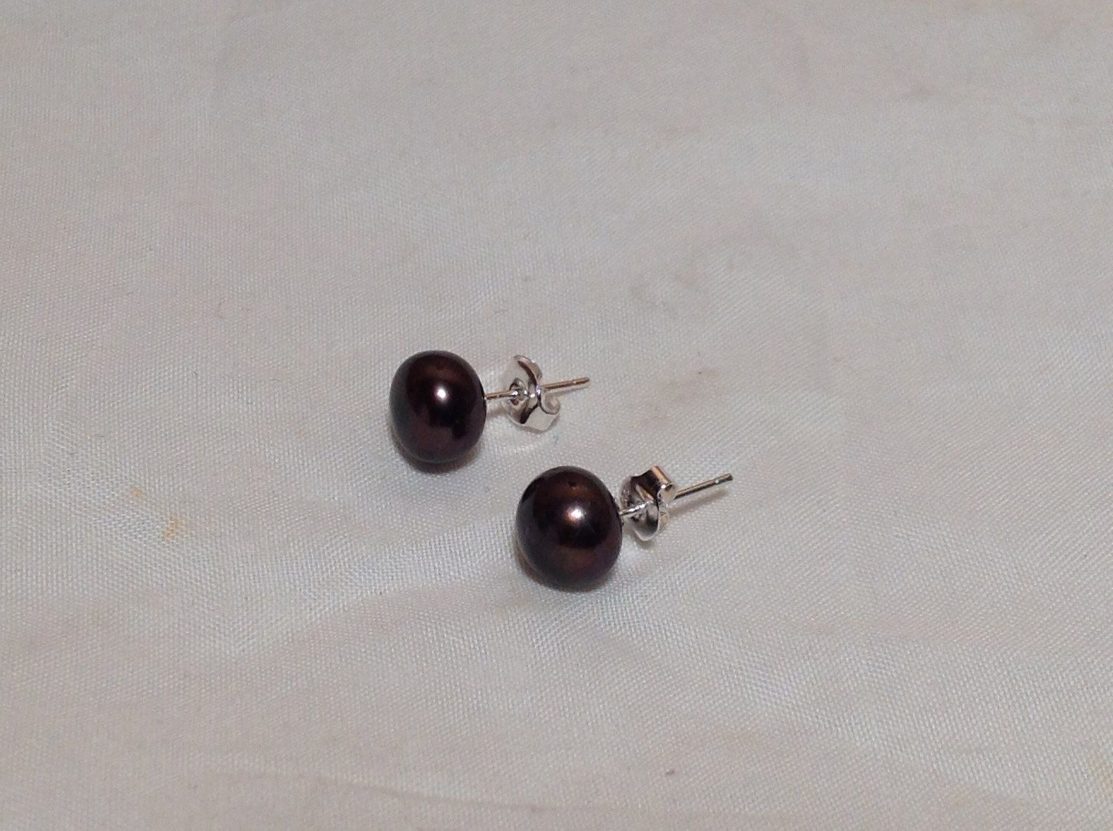 Coco Brown Genuine Pearl Stud Earrings Silver Post
