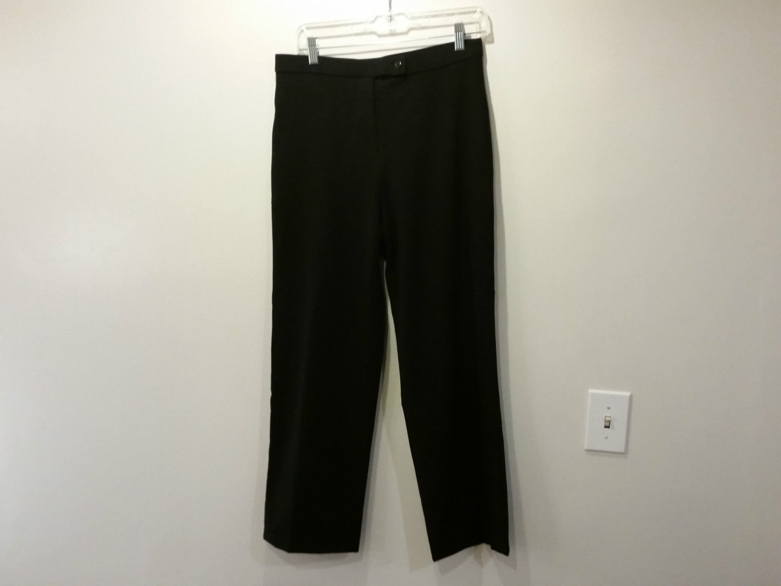 Coldwater Creek Black Flat Front Dress Pants One Back Pocket Size 8