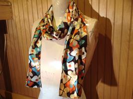 Brown Blue Orange Tan Flowered Fashion Scarf Shiny Silk Like Material NO TAG image 2
