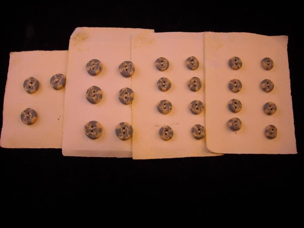 Collection  7 large 16 small handmade ceramic buttons