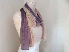 Brown Golden Watercolor Scrunched Style Fashion Scarf image 2