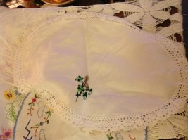Collection lot of hand stitched crocheted embroidered doilies and runners