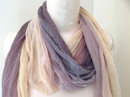 Brown Golden Watercolor Scrunched Style Fashion Scarf image 3