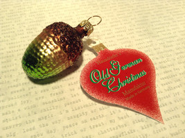 Brown Green Acorn Hand Blown Glass Ornament Holiday Tree Old German Christmas image 4