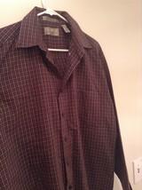 Brown Navy Plaid Button Up Long Sleeve Shirt Bill Blass Size Large image 3