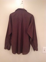 Brown Navy Plaid Button Up Long Sleeve Shirt Bill Blass Size Large image 5