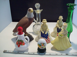 Collection of 8 Avon Perfume bottle holders and related items betsy ross eagle