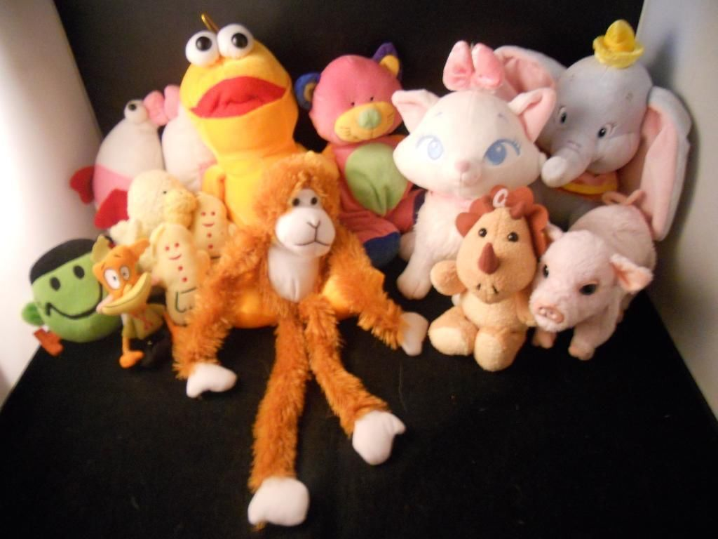 Collection of Miscellaneous Plush toys cat monkey pig elephant