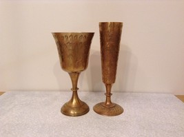 Collection of 2 vintage brass cup goblets made in India engraved decorative