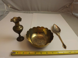 Collection of 3 Vintage Decorative Brass Items - Vase, Spoon, Bowl