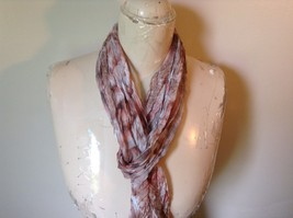 Brown Pink and White Sheer Stretchy Material Scarf 10 Inches by 70 Inches image 4