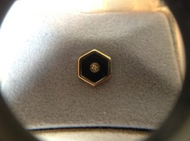 Colibri 18 KT Gold Electroplate Tie with Diamond Chip in Middle Made in USA